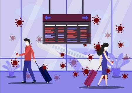 Concept of the threat of spreading coronavirus infection 2019-nCoV. 2019-nCoV. People wear mask at airport to prevent infection from coronavirus. Vector, Illustration