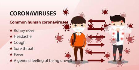 Concept of the threat of spreading coronavirus infection 2019-nCoV.  Man staning spreading coronavirus infection. Vector, illustration.