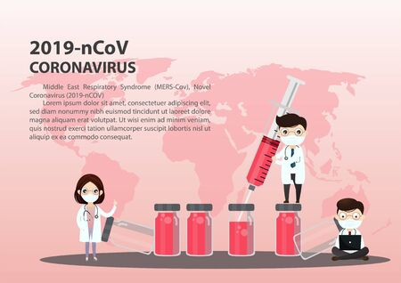 Concept of the threat of spreading coronavirus infection 2019-nCoV.  Doctor in medical face mask. Tiny people doctors and syringe with vaccine, shield. Vaccination program coronavirus 2019-nCoV.   Vector, illustration.