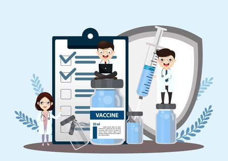 Laboratory diagnosis research. science equipment. Syringe. Flat style syringe. Test tube. Vaccination. Vector, illustration.