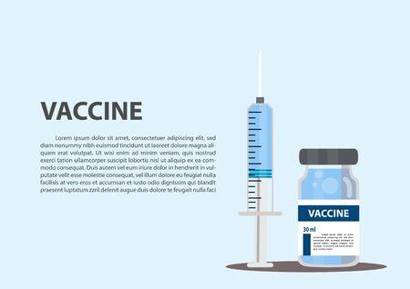 Medicine bottle for injection. Medical glass vials and syringe for vaccination. Syringe. Flat style syringe. Test tube. Syringe with blood. Vaccination, injection. Vector, illustration.