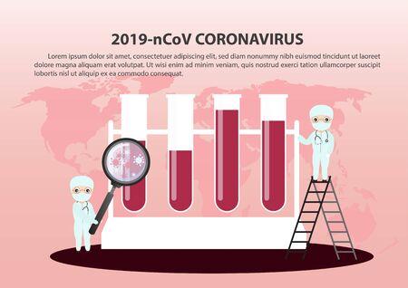 Concept of the threat of spreading coronavirus infection 2019-nCoV.  Doctor in medical face mask. Novel coronavirus outbreak.  Vector, illustration.