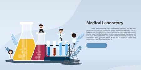 Laboratory diagnosis research. science equipment. Syringe. Flat style syringe. Test tube. Vaccination. Vector, esp, illustration.