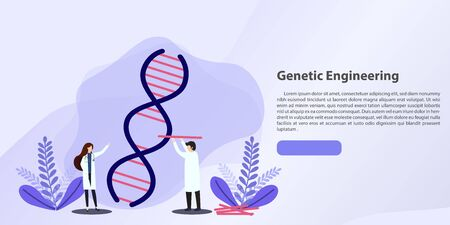 Scientists working with DNA. Doctors doing laboratory research. Medicine and technology. Genetic testing  DNA testing  genetic diagnosis concept. Vector, illustration, esp.