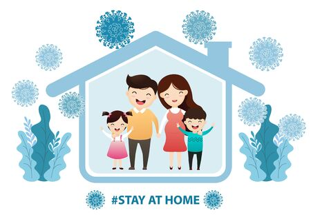 Fears of getting coronavirus. Global viral epidemic or pandemic. Stay home during the coronavirus epidemic. Family staying at home in self quarantine, protection from virus Çizim