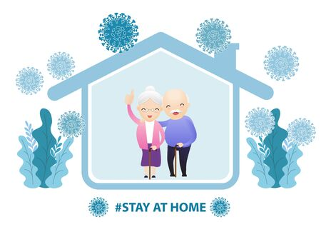 Fears of getting coronavirus. Global viral epidemic or pandemic. Stay home during the coronavirus epidemic. Family staying at home in self quarantine, protection from virus. Vector, illustration Çizim