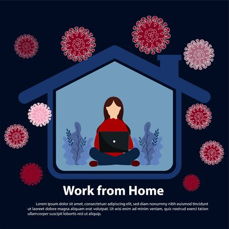 Coronavirus concept. work online from home the coronavirus epidemic. Work at home during isolation. Vector