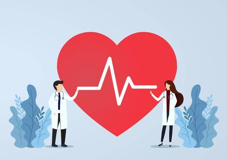 Doctor standing with sign of heartbeat. Doctor wiht heart rate beat.Health concept. Vector, illustration, esp, Flat Design.