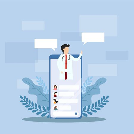 Mobile doctor. Smiling doctor on the phone screen. Medical internet consultation. Healthcare consulting web service. Hospital support online. Vector, illustration, esp, Flat Design.
