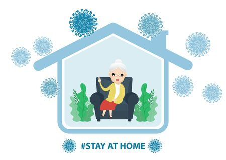Fears of getting coronavirus. Global viral epidemic or pandemic. Stay home during the coronavirus epidemic. Senior staying at home in self quarantine, protection from virus. Vector, illustration, ,flat style, esp.