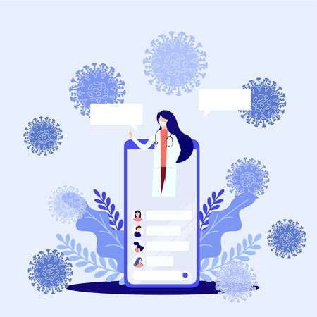 Online doctor consultation via your smartphone concept. Doctor online landing page vector. coronavirus, covid19  イラスト・ベクター素材