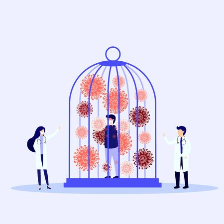 Medical workers in protective uniform and coronavirus in cage. Locked virus pathogen in cage.Victory over the viral infection. Vector, illustration,