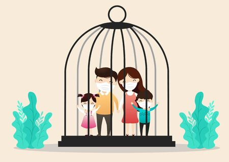 Family in medical masks. Family is protecting their children and them from virus COVID-19 and are wearing masks and stop the spread of viruses in bird cage.  Vector, illustration,flat style,