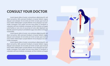 Online doctor consultation via your smartphone concept. Flat design concept of online medicine and healthcare application for website. Medical diagnostics over the Internet. Doctor online landing page vector. coronavirus, covid19