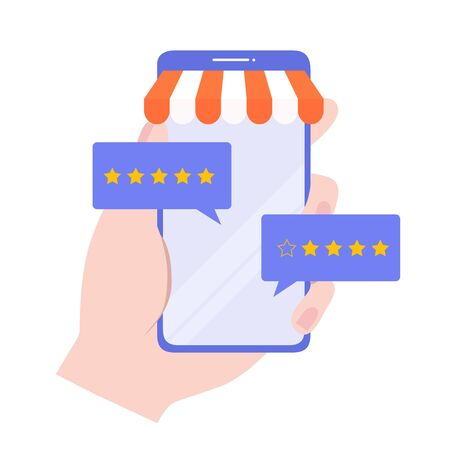 Feedback concept. Customer review rating online shopping. Online store app reputation. Shopping online ranking with a star. Vector, illustration, EPS, flat. Çizim