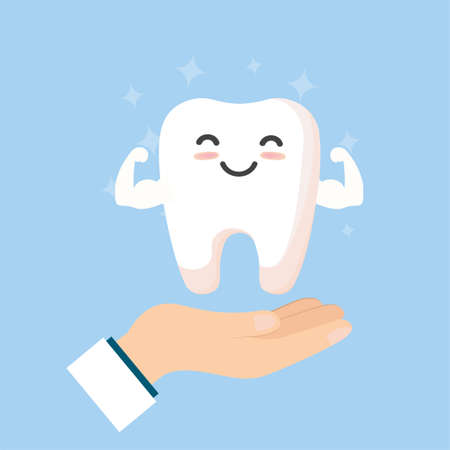 Tooth cleaning. Teeth characters before and after whitening. Cartoon tooth before and after cleaning or whitening or dental procedures. Vector, illustration,  flat design, cartoon Vectores