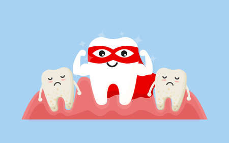 Tooth cleaning. Teeth characters before and after whitening. Cartoon tooth before and after cleaning or whitening or dental procedures. Vector, illustration, eps, flat design, cartoon  イラスト・ベクター素材