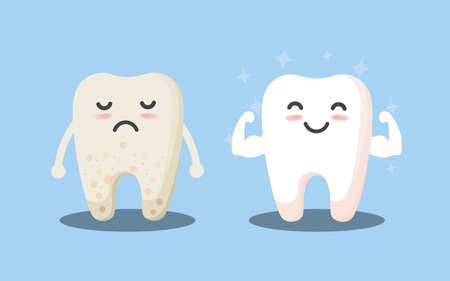 Tooth cleaning. Teeth characters before and after whitening. Cartoon tooth before and after cleaning or whitening or dental procedures. Vector, illustration, eps, flat design, cartoon Ilustração