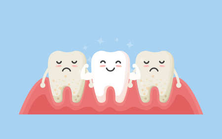 Tooth cleaning. Teeth characters before and after whitening. Cartoon tooth before and after cleaning or whitening or dental procedures. Vector, illustration, eps, flat design, cartoon Vectores