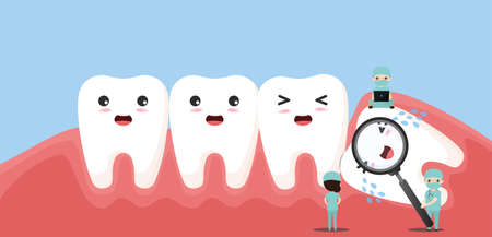 Wisdom tooth push other tooth. Impacted wisdom tooth character pushing adjacent teeth causing inflammation, toothache, gum pain.vector, illustration