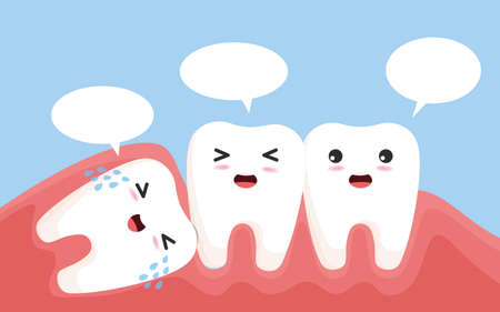 Wisdom tooth push other tooth. Impacted wisdom tooth character pushing adjacent teeth causing inflammation, toothache, gum pain.vector, illustration Çizim