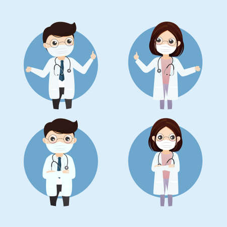 Doctor wearing medical mask.Practitioner young doctor in hospital. Consultation and diagnosis.Vector, illustration, Flat style.  イラスト・ベクター素材