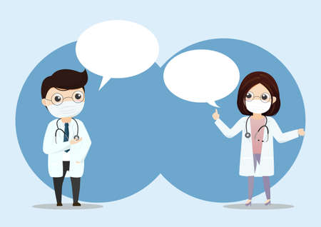 Doctor wearing medical mask with bubble text.Practitioner young doctor in hospital. Consultation and diagnosis. Vector, illustration, Flat style.