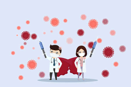 Doctor is a hero. Doctor with hypodermic syringe fighting COVID-19 virus.Hero doctor fighting corona virus symptoms. illustration, vector, flat design.