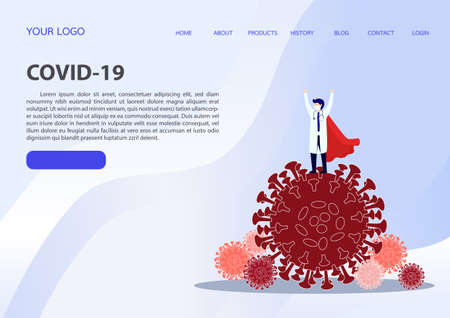Doctor is a hero. Doctor hero in a mask and a red cloak standing on the protection against viruses. . COVID-19 outbreak medical staff.illustration, vector, flat design.