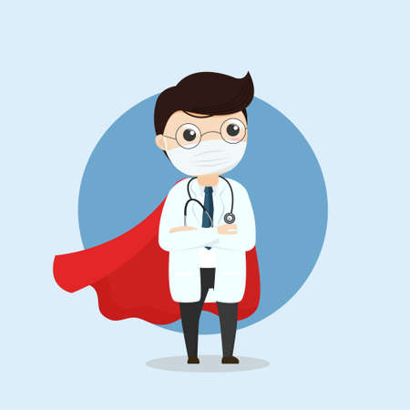 Doctor is a hero. Doctor hero in a mask and a red cloak. COVID-19 outbreak medical staff.illustration, vector, flat design.  イラスト・ベクター素材