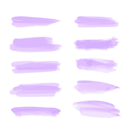 Brush with purple paint. Purple watercolor hand drawn. Abstract cold color brush paint paper painted texture background. Brush strokes, splashes, splatters, blobs..illustration, vector. Illustration