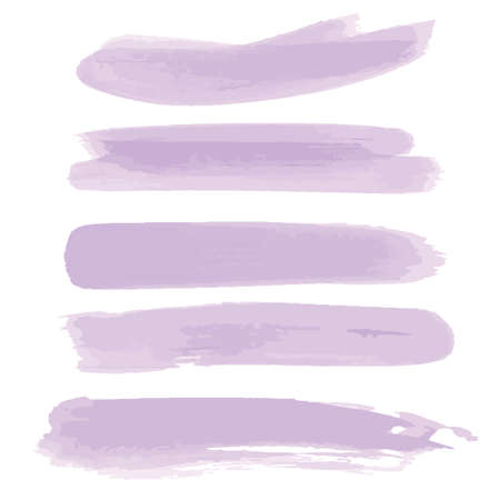 Brush with purple paint. Purple watercolor hand drawn. Abstract cold color brush paint paper painted texture background. Brush strokes, splashes, splatters, blobs..illustration, vector.  イラスト・ベクター素材