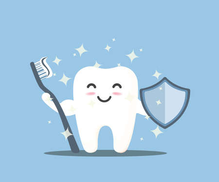 Happy tooth icon. Cute tooth characters. To brush your teeth with toothpaste. Dental personage vector illustration. Illustration for children dentistry. Oral hygiene, teeth cleaning.  イラスト・ベクター素材