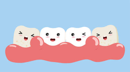 Periodontitis or gum disease with bleeding. Cute cartoon tooth character with gum problem. Vector, illustration, eps, flat design, cartoon