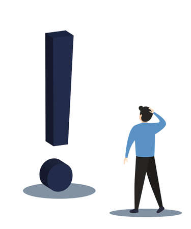 Businessman with question mark sign.Man confused thinking with sign illustration. Answer to question metaphor. Character, vector, illustration. 写真素材 - 166966183