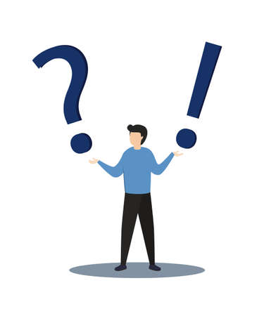 Businessman with question mark sign.Man confused thinking with sign illustration. Answer to question metaphor. Character, vector, illustration. 写真素材 - 166966341
