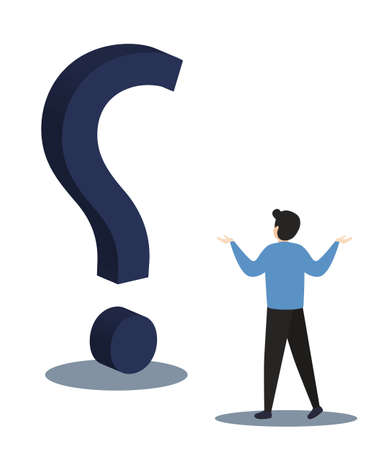 Businessman with question mark sign.Man confused thinking with sign illustration. Answer to question metaphor. Character, vector, illustration.  イラスト・ベクター素材