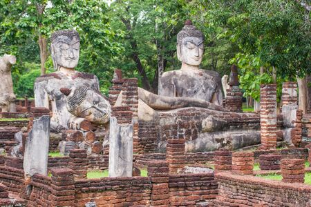 Sitting Buddha - July 26, 2015:-  A temple in Kamphaeng Phet Province  In the ruins of the royal temple, is a historical center  which is the most important in the province