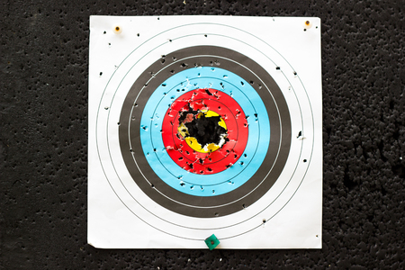 the target for practicing archery outdoors with holes