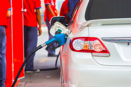 Car refueling on a petrol station, Asia Bangkok Thailand. Stock Photo