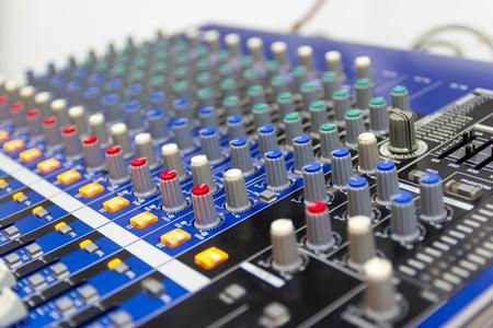 Closeup Mixing Console of a big HiFi system The audio equipment, a control panel of digital studio mixer.