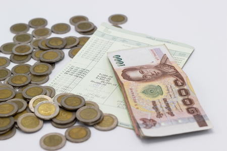 the stack of money with book Bank account, Concepts saving money. Foto de archivo - 103236158
