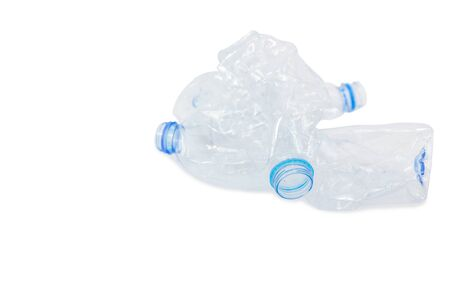 Waste from plastic bottles for recycling will be recycled, Concept of recycling the Empty used plastic bottle isolated white background copy space
