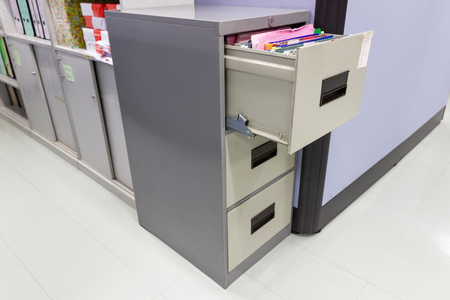 file folder documents In a file cabinet retention concept business office equipment Stok Fotoğraf
