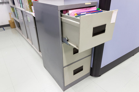 file folder documents In a file cabinet retention concept business office equipment Archivio Fotografico