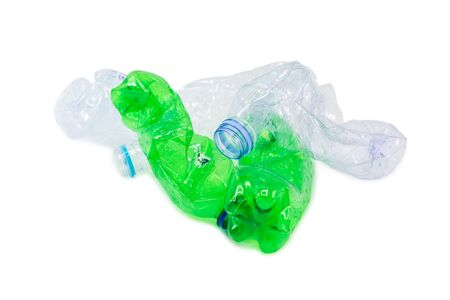 Waste from plastic bottles for recycling will be recycled, Concept of recycling the Empty used plastic bottle isolated white background.