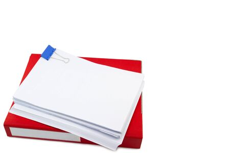 red files folder. retention of contracts and paper. with isolated white background copy space Stok Fotoğraf