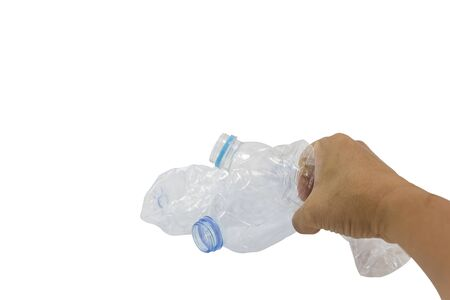 Men hand holding a plastic water bottle not used concept of recycling the Empty used plastic bottle isolated white background