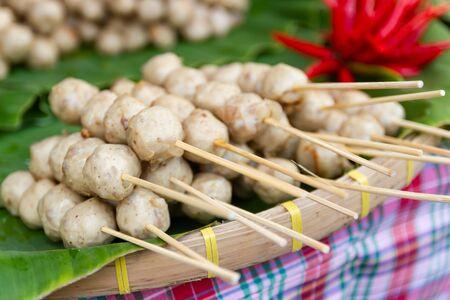 Thai Street Food, Grill pork balls pour and delicious on the market Bangkok Thailand