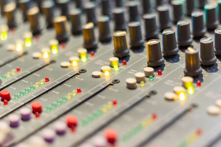 Mixing Console of a big HiFi system The audio equipment, control panel of digital studio mixer.